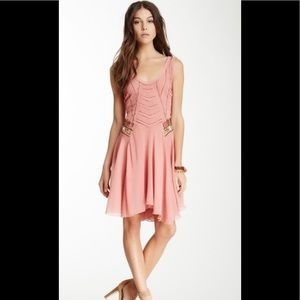 Free People Sheer Mauve Beaded Sequined Dress S